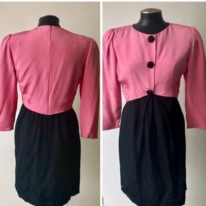 Bill Blass 1980's Black And Pink Silk Dress